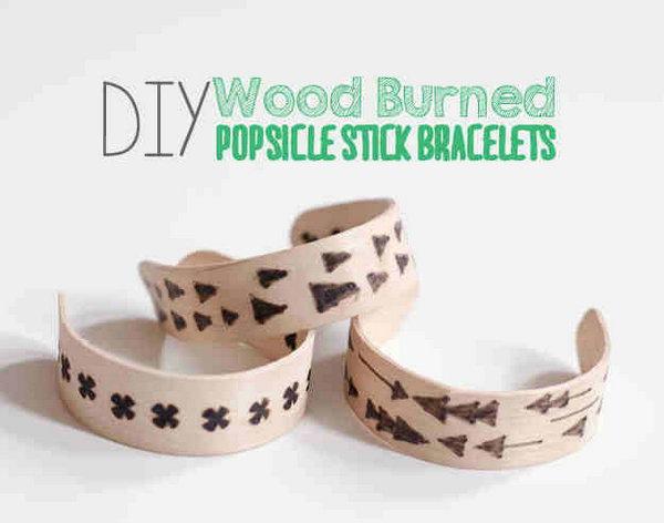 DIY Wood Burned Popsicle Sticks Bracelets