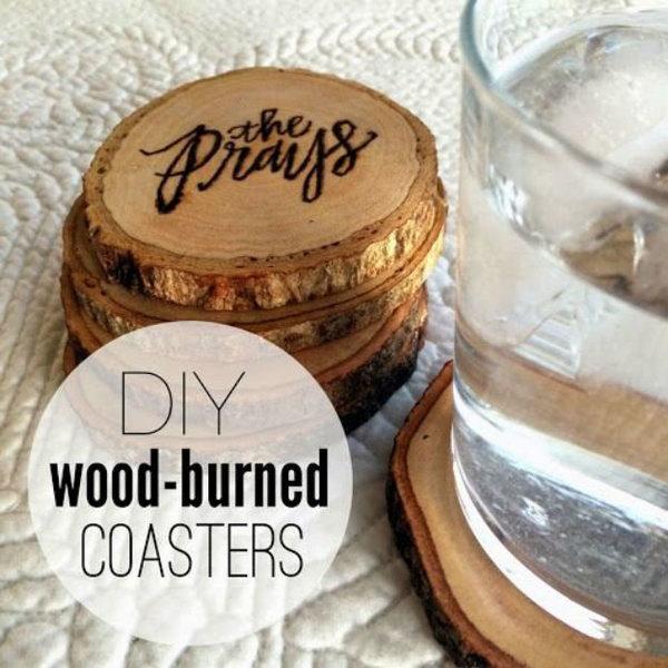 DIY Wood Burned Coasters