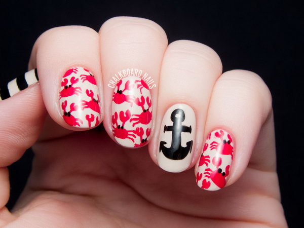 Crab Print and an Anchor Accented Nails. See the tutorial