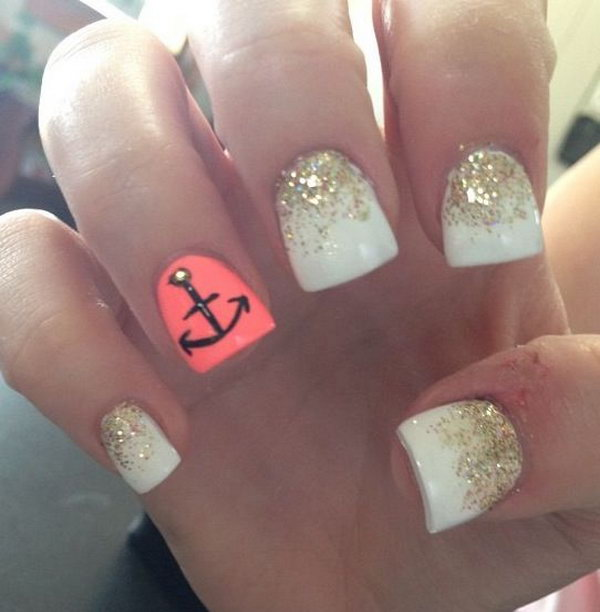 White & Gold with an Anchor Nails.