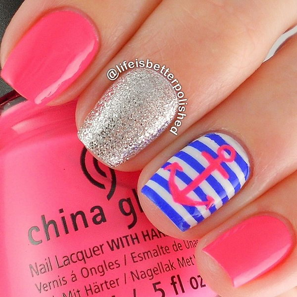 Hot Pink Anchor Nails with Nautical Background.