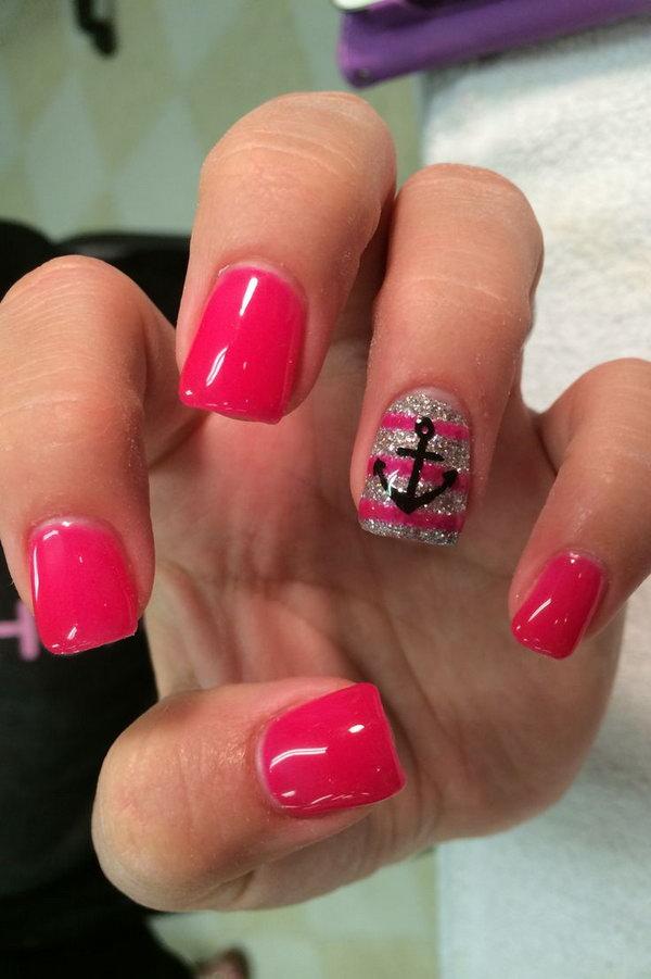 Hot Pink and Glitter Anchor Nails.