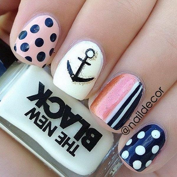 Anchoe, Polka Dots and Half Strips Nail Design.