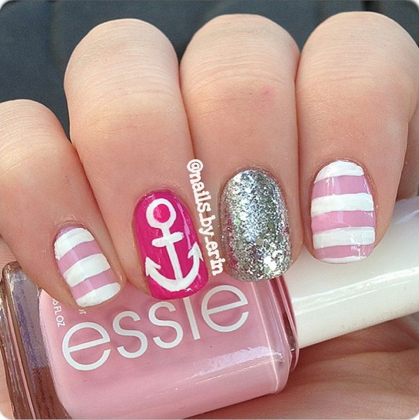 Pink and Glitter Nautical Anchor Manicure.