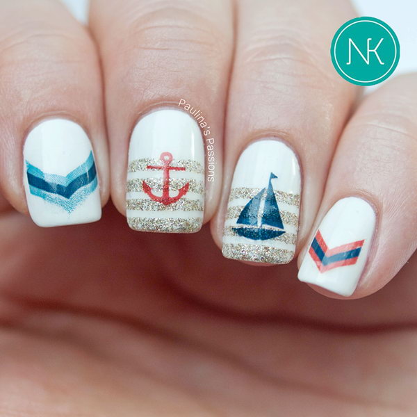 Anchor and Sailboat Nautical Nail Design. Get the tutorial