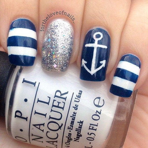 Classic Nautical Nails Accented with Anchor.