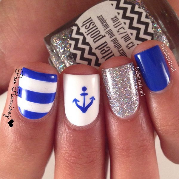 Blue and White Nails with Glitter and Anchor Accented.