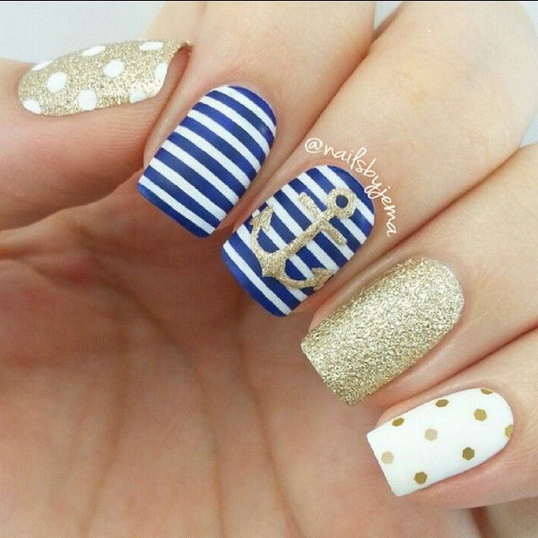 Navy Blue and Gold Nautical Nails With Anchor.
