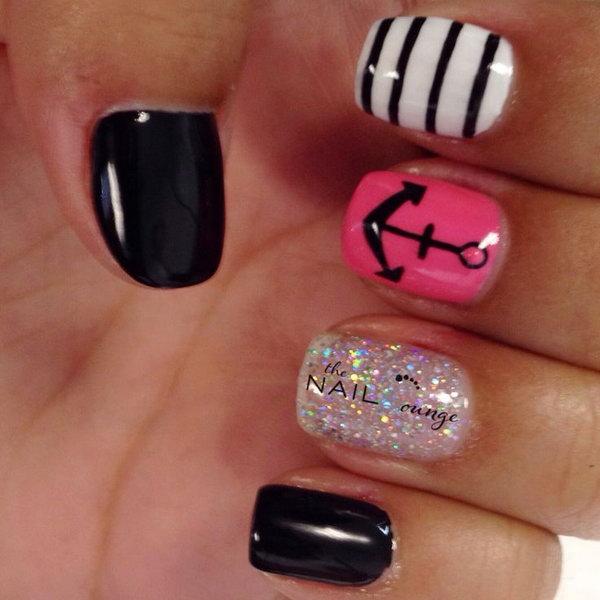 Anchor Gel Nail Art Design.