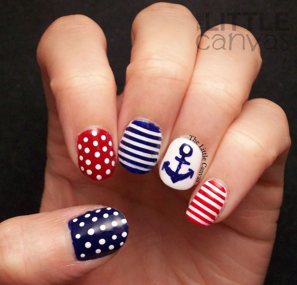 Different Colored Striped with Dots and an Anchor Nails. Get the tutorial