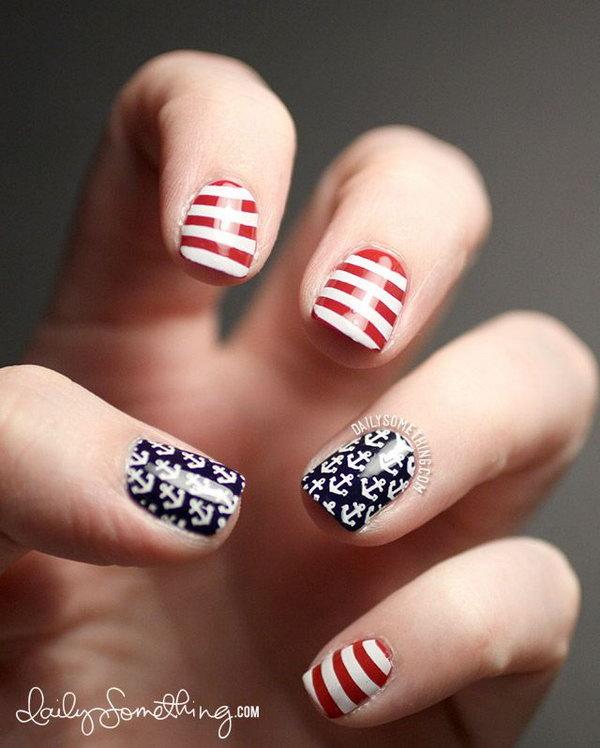 Patriotic Anchors and Stripes Short Nails.