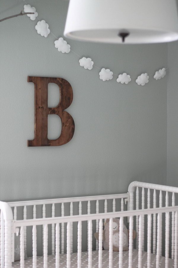 DIY Cloud Garland for a Baby Room.