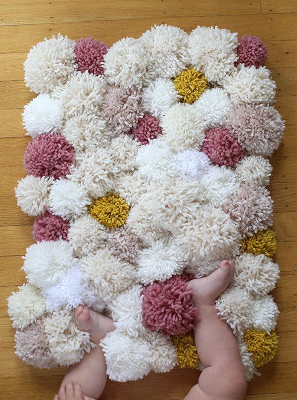 DIY Soft and Fluffy Pom pom Rugs.