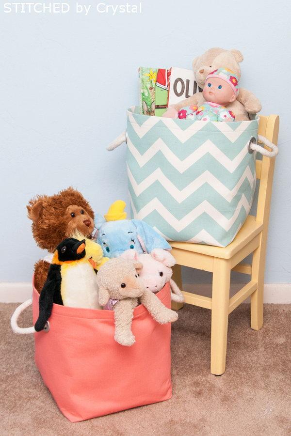 DIY Fabric Storage Basket. See how to make it