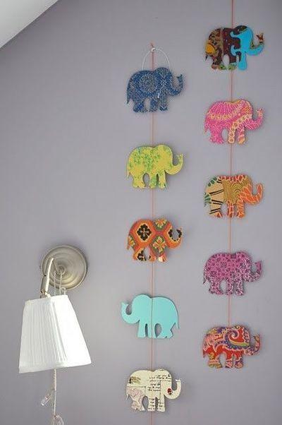 DIY Elephant Garland for Nursery.