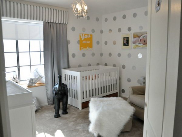 Easy DIY Polka Dot Nursery Accent Wall.