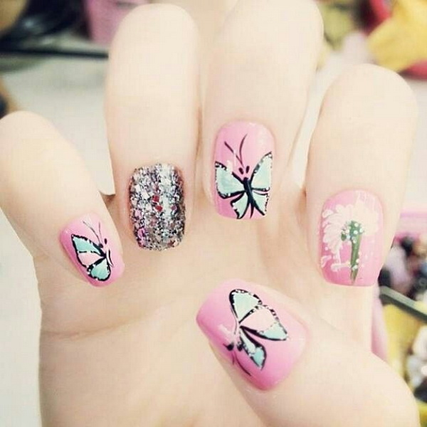 Awesome Pink and Glitter Butterfly Nail Design.