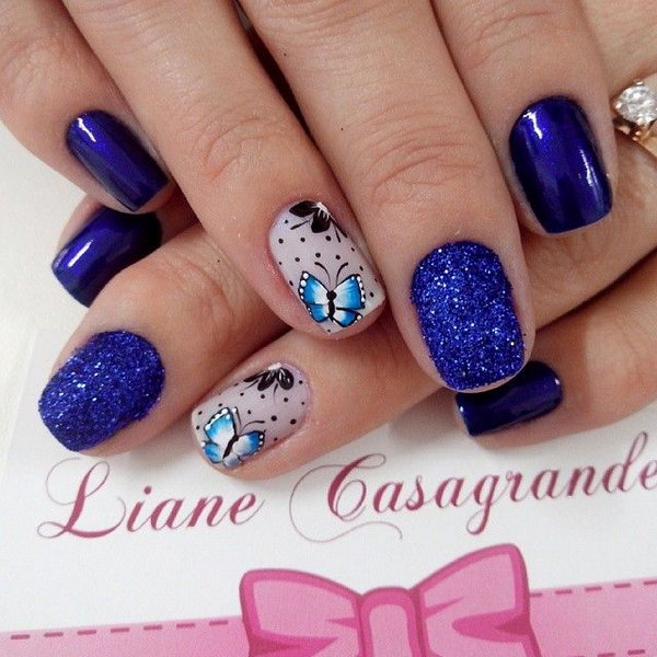 Butterfly Nails in Royal Bule Theme.