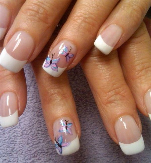 Classic French Tip Nails with Butterflies Accent.