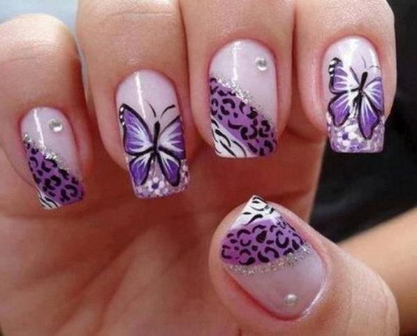 Purple Butterflt and Cheetah Nail Designs.
