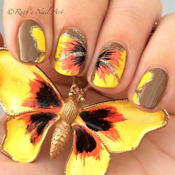 Vintage Butterfly Brooch Inspired Nails.