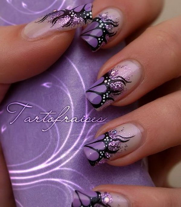 Lavender and Black French Butterfly Nails.