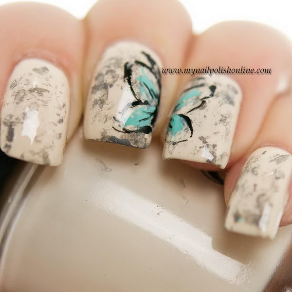 Vintage Butterfly Nail Design.
