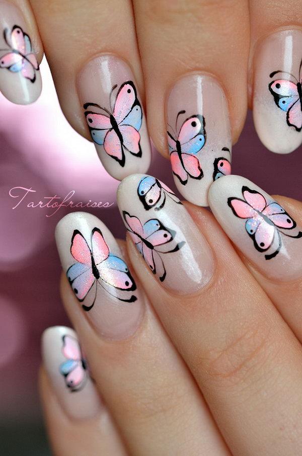 Feminine French Butterfly Nail Art Design.