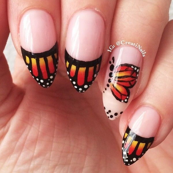 Beautiful Stiletto Butterfly Nails.