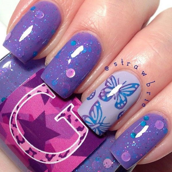 Purple Butterfly Nail Designs.