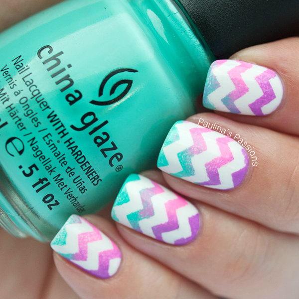 Watercolor Chevron Nails. Get more details