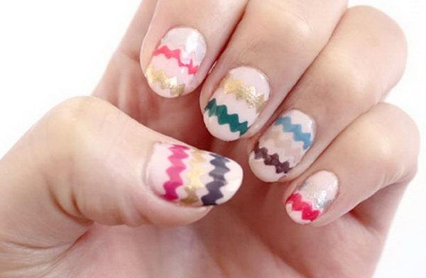Multi colored Chevron Nail Art. Get the tutorial