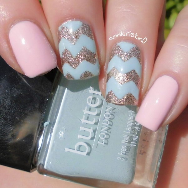 Mint, Pink and Glitter Chevron Nails.