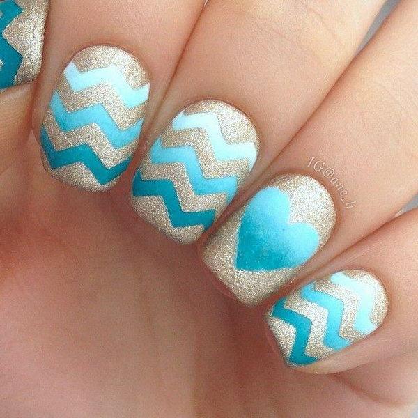 Sea Blue Heart Chevron and Glitter Nail Designs.