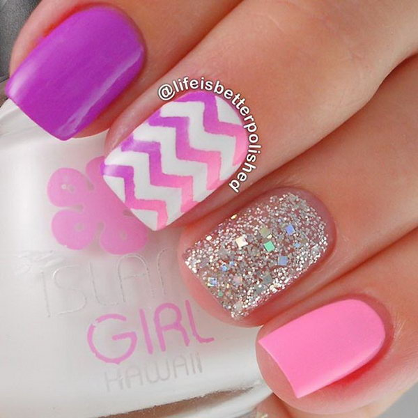 Ombre Pink Chevron Nail with Glitters.