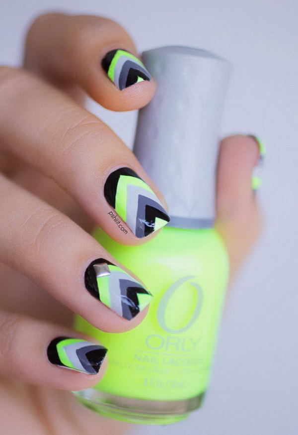 Neon Chevron Nail Designs. See the tutorial