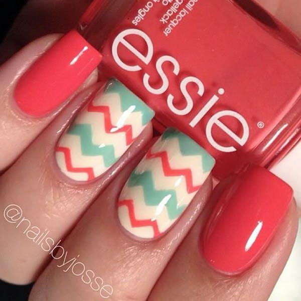 Red and Mint Chevron Nails.