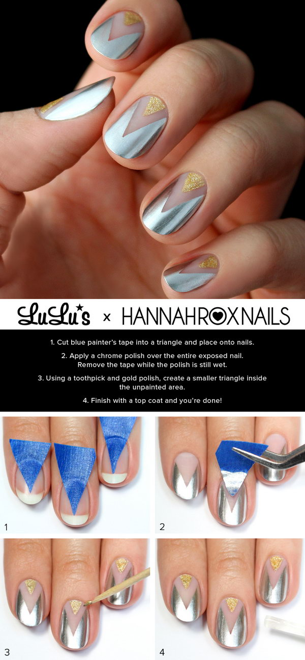 Gold and Silver Chevron Nail. See the tutorial