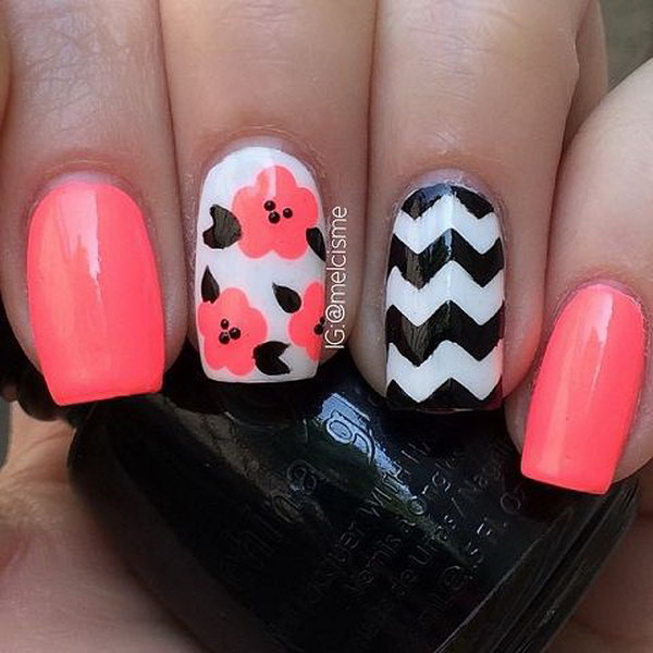 Floral and Chevron Nail Designs.