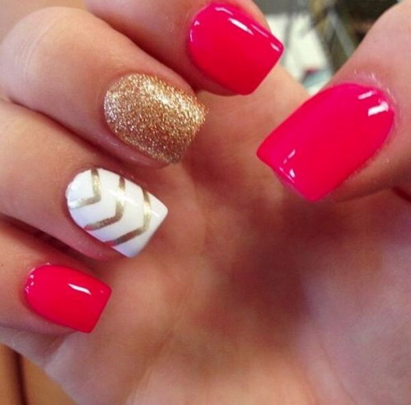 Red, White, and Gold Glitter with Chevron Nail Art Design.