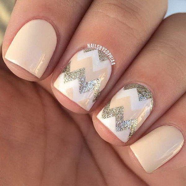 Nude and Gold Glitter Chevron Nail Designs.