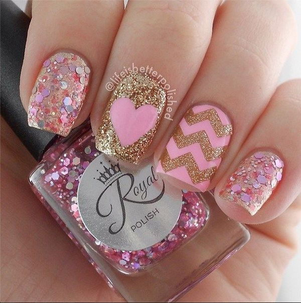 Glitter Chevron Nails Accented with Cute Heart.