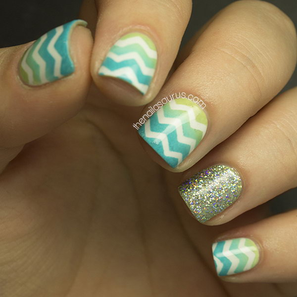 Ombre and Glitter Chevron Nails. Check out the tutorial