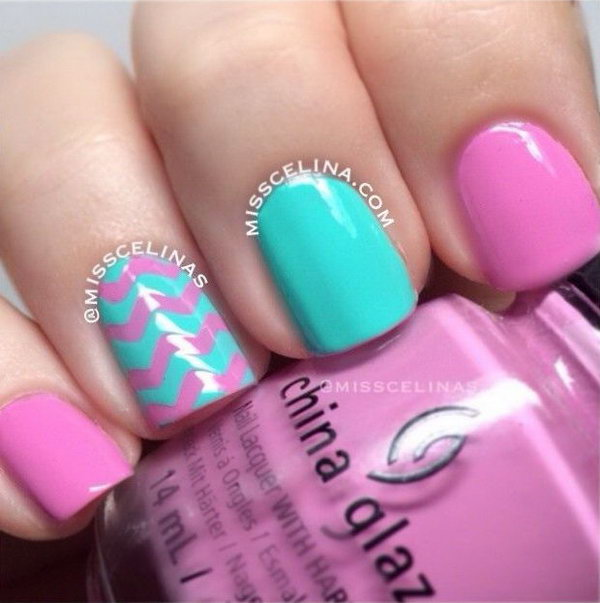 Mint and Pink Pastel Chevron Nails.