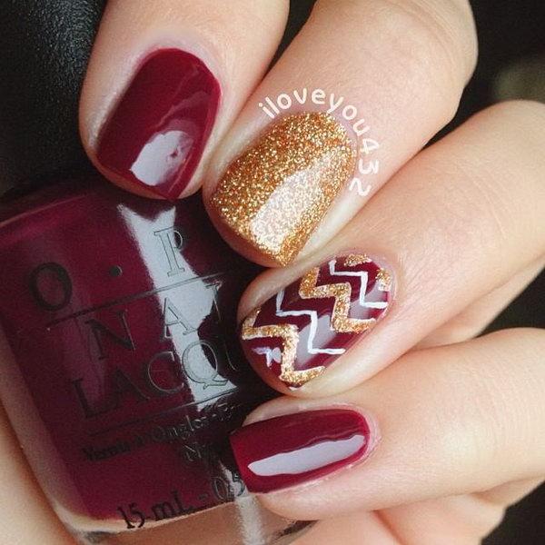 Red & Gold Glitter Chevron Nails.