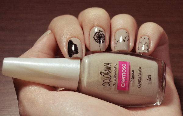 Awesome Neutral Base Blowing Dandelion Nail Art Design.