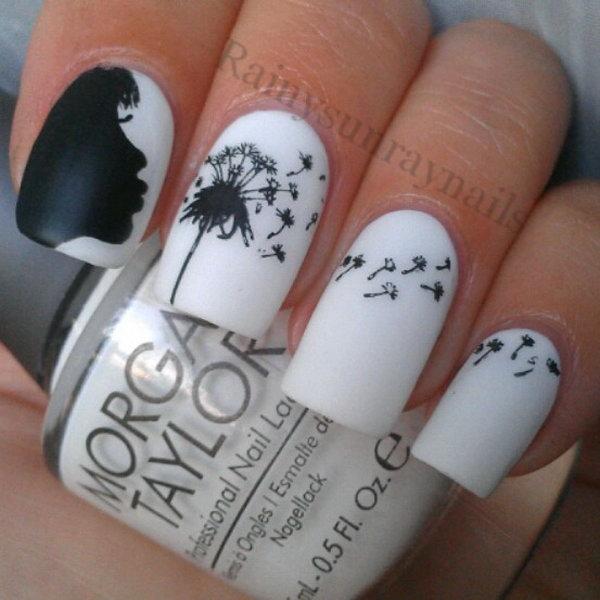 Black and White Dandelion Nails.