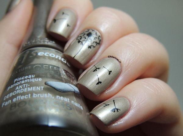 Cream Shimmer Black Danelion Nail Art Design.