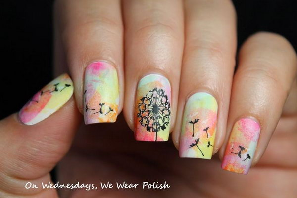 Dandelion Watercolor Nails. See the tutorial