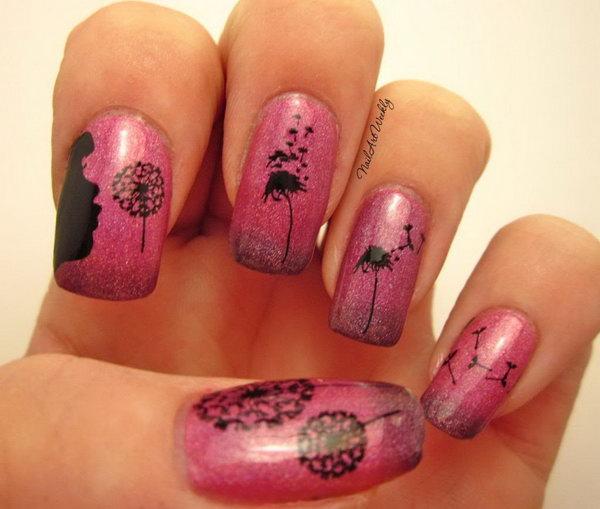 Pink Shimmer Black Blowing Dandelion Silhouette Nail Art. Get more details